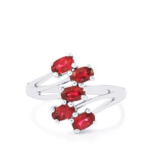Cruzeiro Rubellite Ring in Sterling Silver 1.19cts