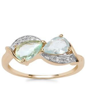 Paraiba Tourmaline Ring with Diamond in 10K Gold 0.97cts