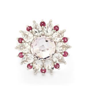 Pink Amethyst, Rhodolite Garnet & White Topaz Sterling Silver Ring ATGW 8.81cts