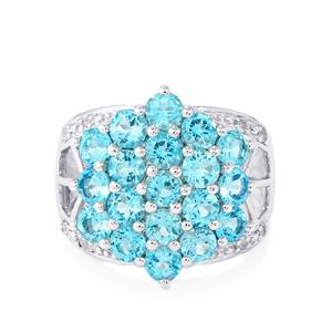 4.90ct Swiss Blue & White Topaz Sterling Silver Ring