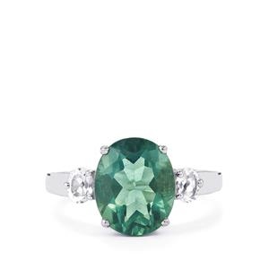 Tucson Green Fluorite Ring with White Topaz in Sterling Silver 4.86cts