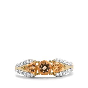 Ouro Preto Imperial Topaz & White Zircon 10K Gold Ring ATGW 1.47cts