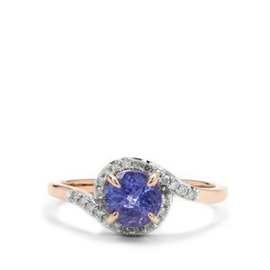 AAA Tanzanite Ring with Diamond in 9K Rose Gold 1.10cts