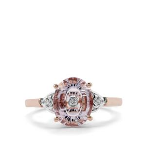 Lehrer TorusRing Rose De France Amethyst Ring with Diamond in 9K Rose Gold 1.94cts