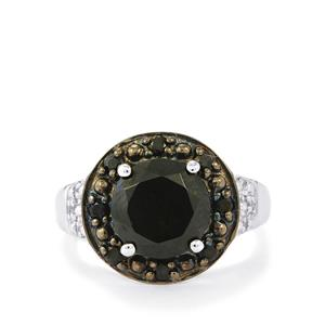 Black Spinel & White Topaz Sterling Silver Ring ATGW 3.91cts
