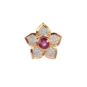Thai Ruby Pendant with Diamond in 9K Gold 0.70ct