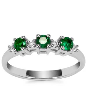 Luhlaza Emerald Ring with White Topaz in Sterling Silver 0.44ct