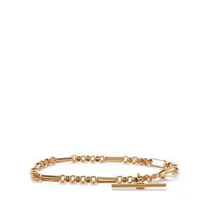 9K Gold Altro T-Bar Figaro Belcher Bracelet 3.57g