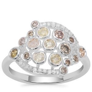 Multi-Colour Diamond Ring in Sterling Silver 0.76ct
