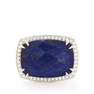 Sar-i-Sang Lapis Lazuli & White Topaz Sterling Silver Ring ATGW 32.24cts