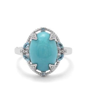 Sleeping Beauty Turquoise, Marambaia London Blue Topaz & White Zircon Sterling Silver Ring ATGW 5.22cts