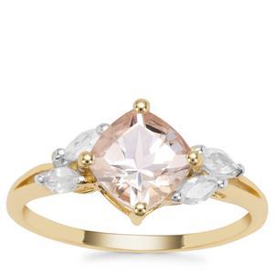 Alto Ligonha Morganite Ring with White Zircon in 9K Gold 1.75cts