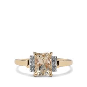 Cuprian Sunstone & Diamond 9K Gold Ring ATGW 1.44cts
