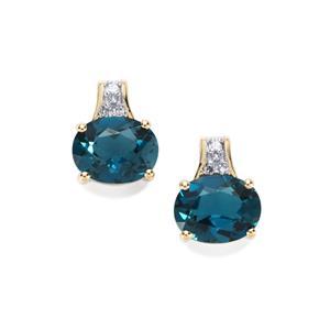 Marambaia London Blue Topaz Earrings with Diamond in 10K Gold 4.26cts