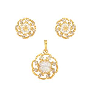 White Quartz Set with White Topaz in Gold Plated Sterling Silver 3.6cts