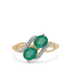 Malysheva Emerald Ring with White Zircon in 9K Gold 1.50cts