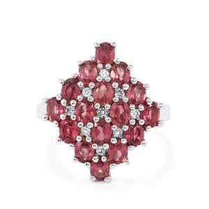 Rhodolite Garnet Ring with White Topaz in Sterling Silver 3.83cts