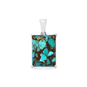 Egyptian Turquoise Pendant  in Sterling Silver 10.38cts