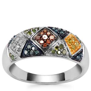 Blue, Cognac, Green, Yellow Diamond Ring with White Diamond in Sterling Silver 0.35ct
