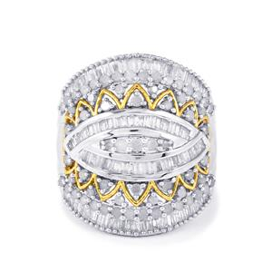 Diamond Ring in Two Tone Gold Plated Sterling Silver 1.50cts