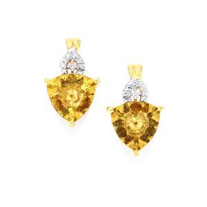 Lehrer KaleidosCut Champagne Quartz, Gouveia Andalusite & Diamond 10K Gold Earrings ATGW 3cts
