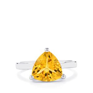 4.20ct Diamantina Citrine Sterling Silver Ring