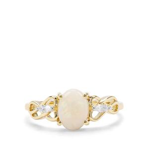 Coober Pedy Opal & White Zircon 9K Gold Ring ATGW 0.90cts