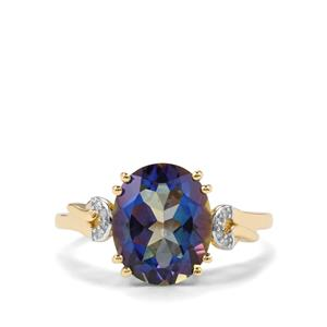 Mystic Blue Topaz Ring with Diamond in 9K Gold 4.26cts
