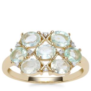 Paraiba Tourmaline Ring with Diamond in 9K Gold 1.45cts