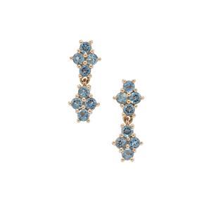 Nigerian Aquamarine Earrings in 9K Gold 1cts