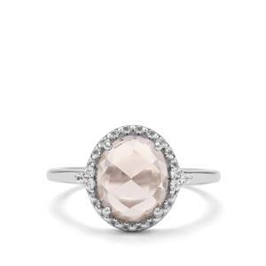 Smokey Quartz & White Zircon Sterling Silver Ring ATGW 1.95cts