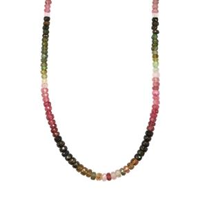 Rainbow Tourmaline Graduated Bead Necklace in Sterling Silver 63cts