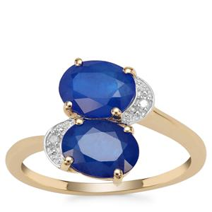 Santorinite™ Blue Spinel Ring with Diamond in 9K Gold 2.83cts