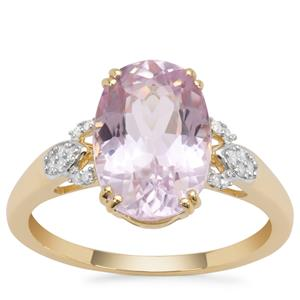 Nuristan Kunzite Ring with Diamond in 9K Gold 4.82cts