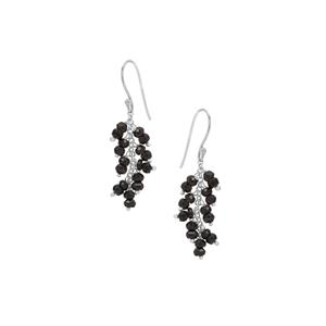 Black Spinel Inspired By Colour Earrings in Sterling Silver 12cts