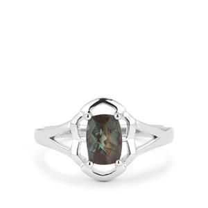 0.79cts Green Color Change Andesine Sterling Silver Ring