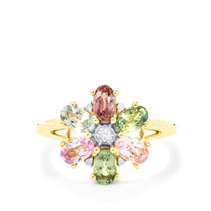 Natural Sakaraha Rainbow Sapphire & Diamond 10K Gold Ring ATGW 1.90cts
