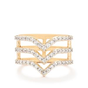 0.94ct White Topaz Rose Gold Vermeil Ring