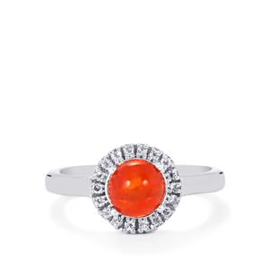 Ethiopian Red Opal & White Topaz Sterling Silver Ring ATGW 0.78cts