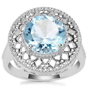 Sky Blue Topaz Ring in Sterling Silver 3.60cts