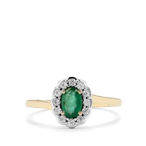 Zambian Emerald & White Zircon 9K Gold Ring ATGW 0.72cts