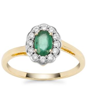Zambian Emerald Ring with White Zircon in 9K Gold 0.72ct