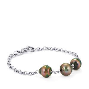 Tahitian Cultured Pearl Bracelet in Sterling Silver