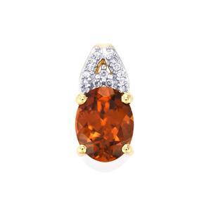 Zanzibar Zircon Pendant with Diamond in 10k Gold 2.44cts
