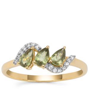 Green Dragon Demantoid Garnet Ring with White Zircon in 9K Gold 0.90ct