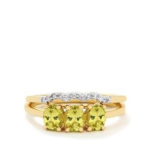 Brazilian Chrysoberyl & Diamond 10K Gold Set of 2 Stacker Rings ATGW 1.24cts