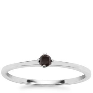 Black Diamond Ring in Sterling Silver 0.10ct