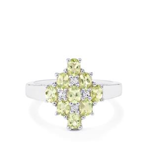 Lemanja Amblygonite Ring with White Topaz in Sterling Silver 1.15cts