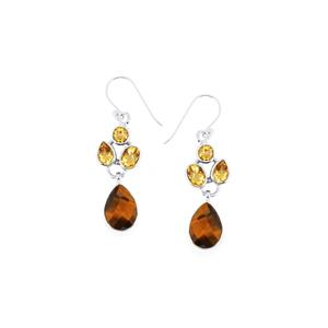 Yellow Tigers Eye & Rio Golden Citrine Sterling Silver Aryonna Earrings ATGW 15cts