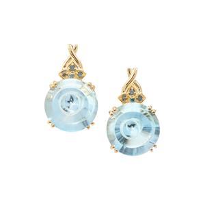 Maelstrom Cut Sky Blue Topaz Earrings with Blue Diamond in 9K Gold 8.48cts